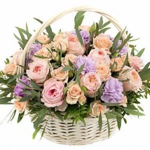 Сборная корзина с пионовидными розами R332