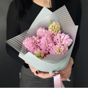 Букет 9 розовых гиацинтов с упаковкой R1071